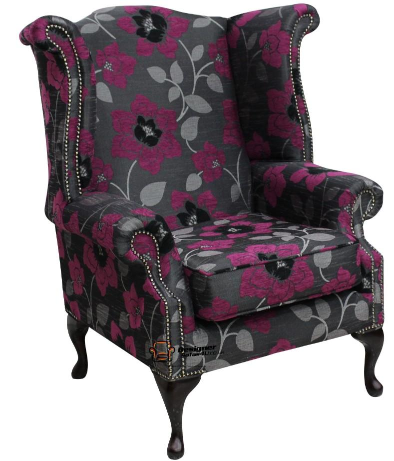 Chesterfield Saxon Queen Anne High Back Wing Chair Quartz