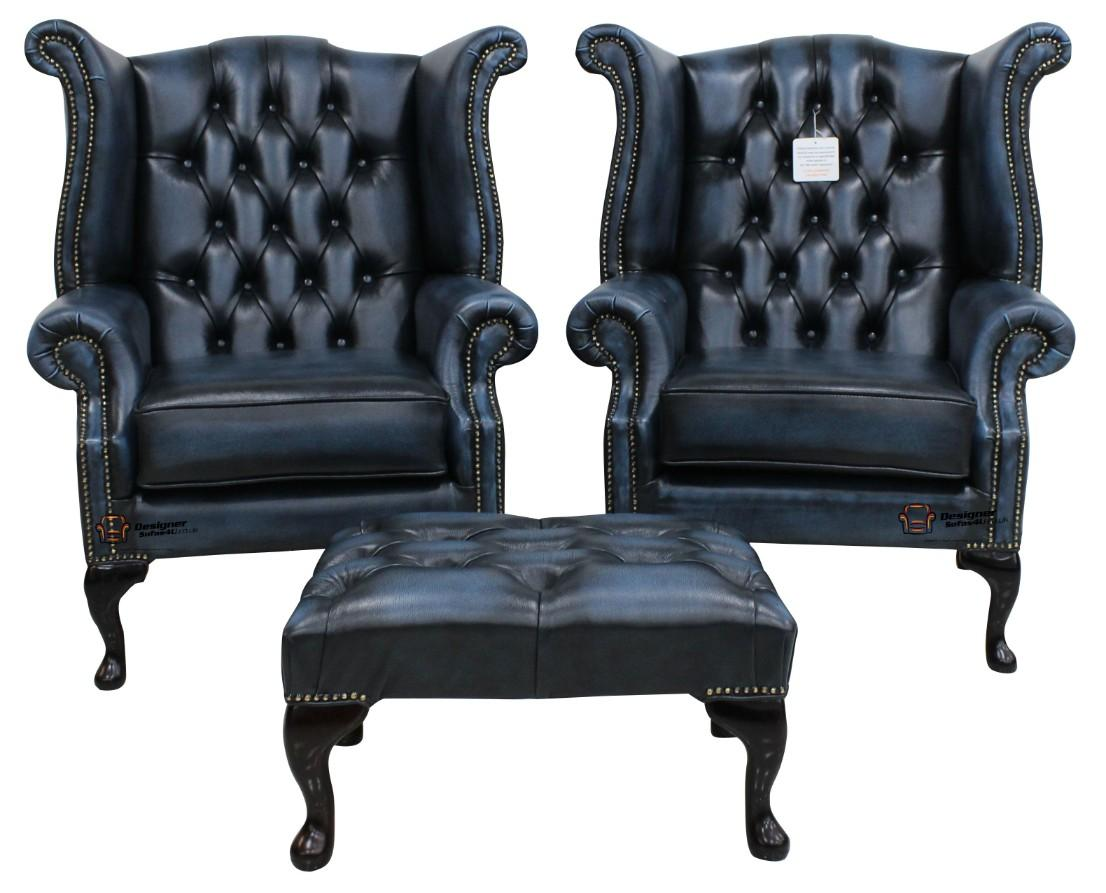2 X Chesterfield Queen Anne Wing High Back Fireside Chairs