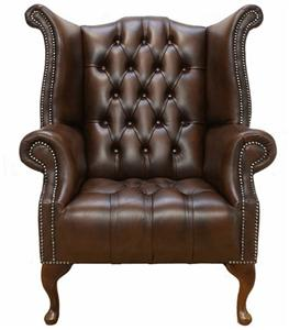 buttoned seat queen anne high back wing chair brown leather ebay