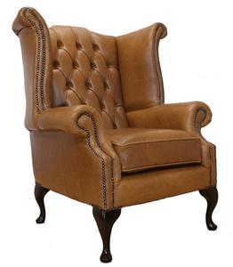 armchair queen anne high back wing chair old english tan leather