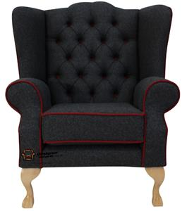 Chesterfield Frederick High Back Wing Armchair Moons Skye Red Check Tweed Wool