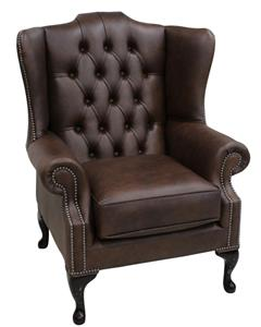 mallory queen anne high back wing chair washington chestnut leather