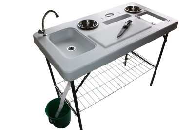 Portable camp fish cleaning table with faucet fish for Fish cleaning table with sink