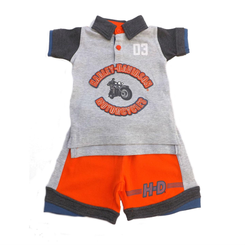Harley Davidson Todder Boys Shorts Shirt Set Apparel