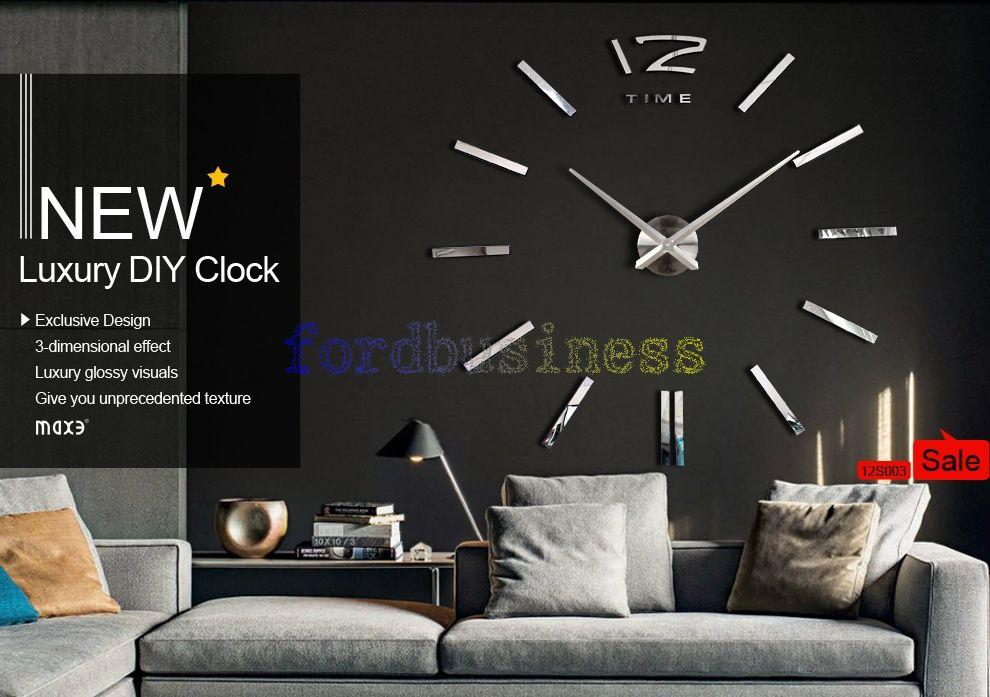 New Luxury Diy 3d Wall Clock Home Decoration Mirrors Face