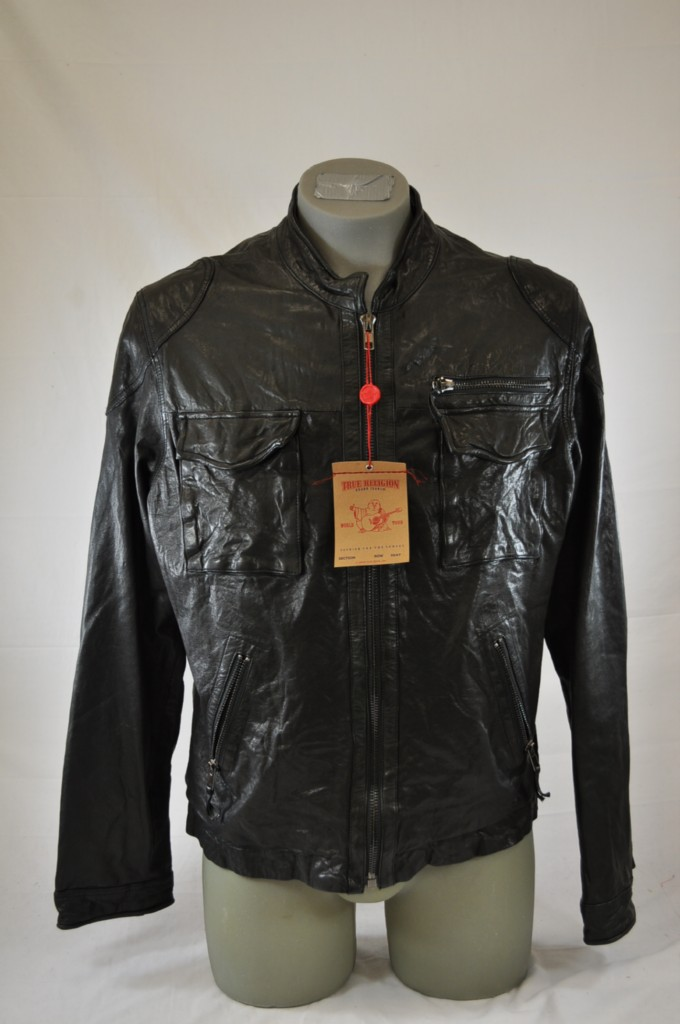 true religion brand jeans mens brad black moto leather jacket ebay. Black Bedroom Furniture Sets. Home Design Ideas