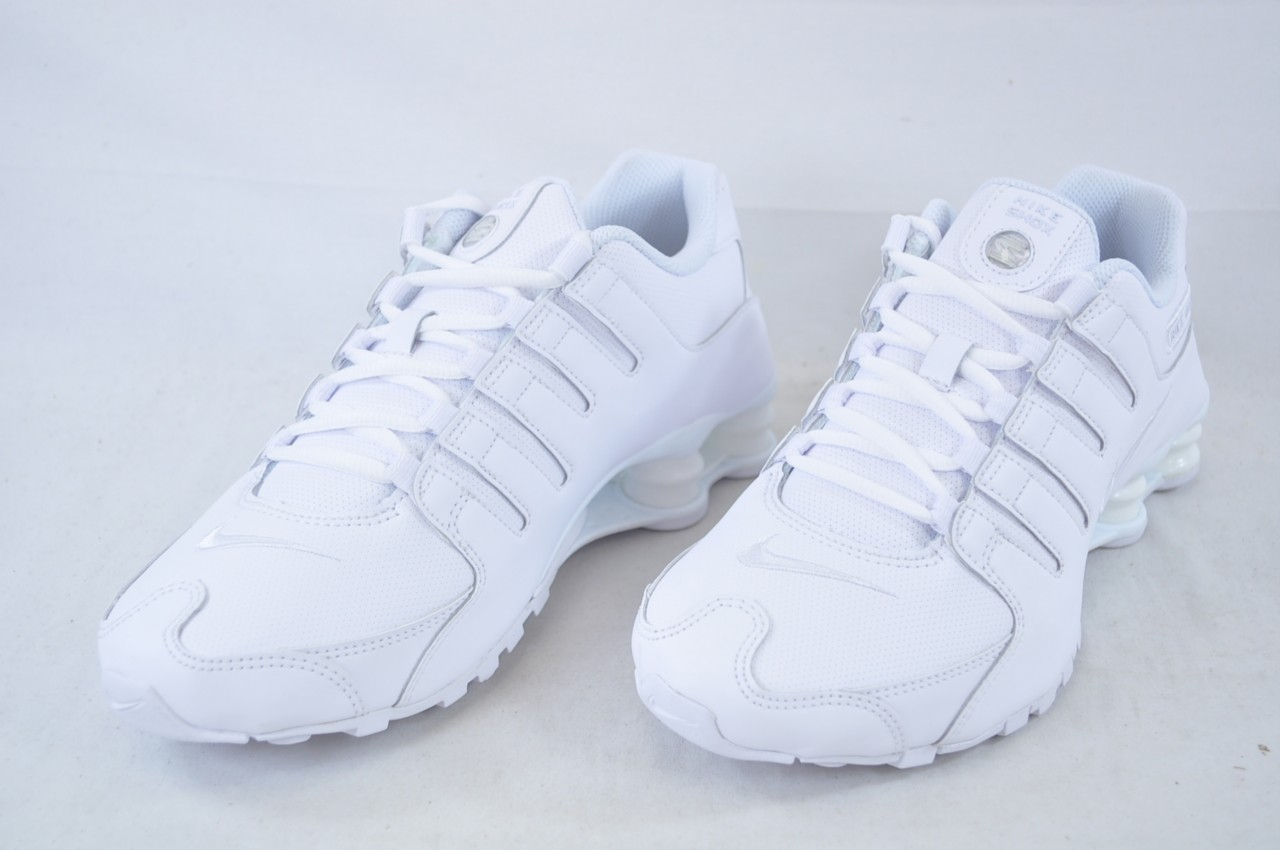 nike shox nz 378341 128 all white mens leather running shoes