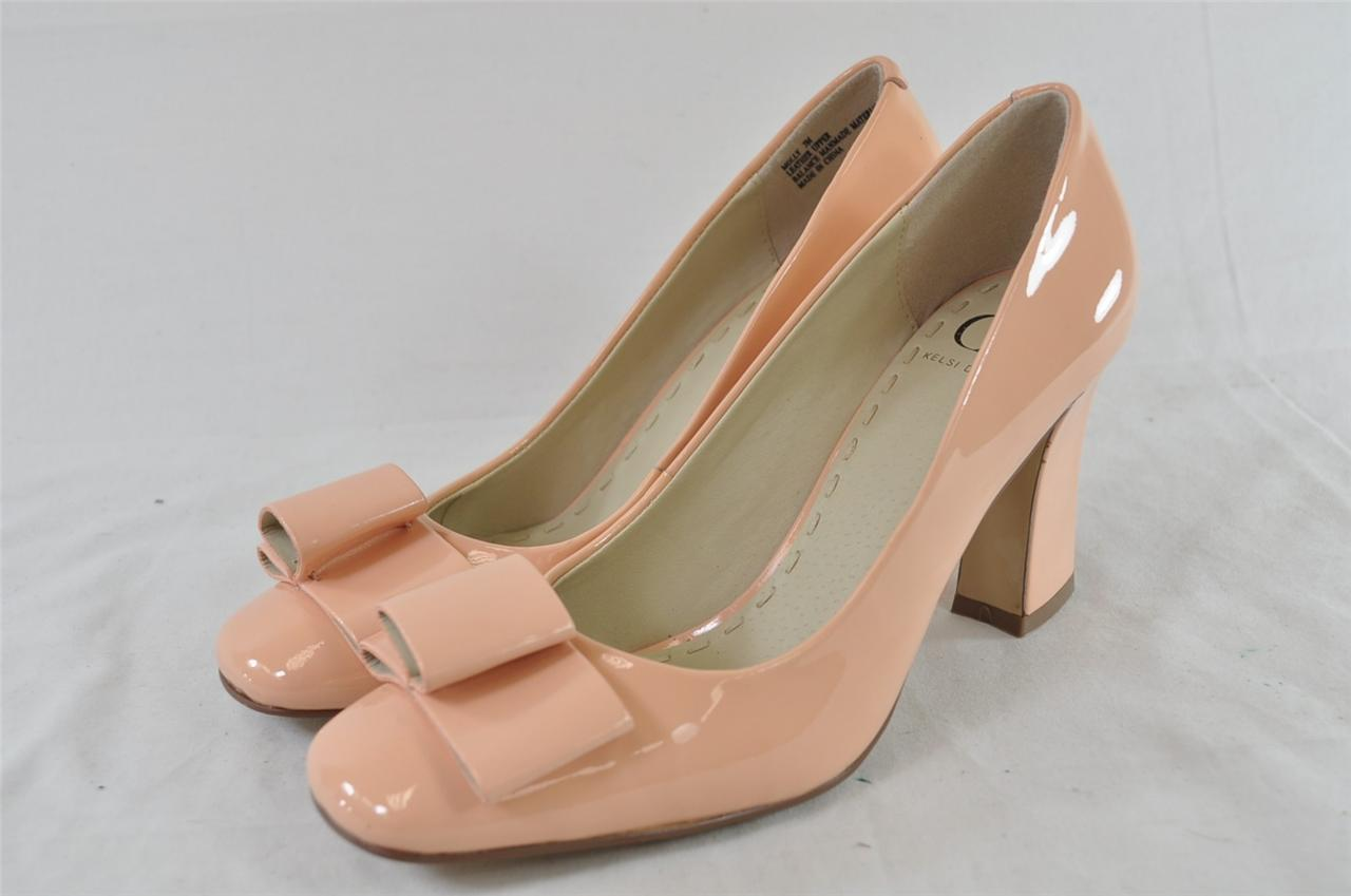 kelsi dagger molly salmon pink patent leather bow accent
