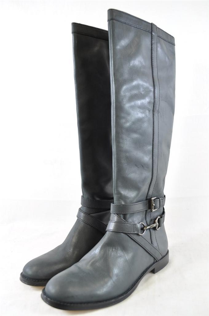 coach marlena black vintage leather knee high buckle