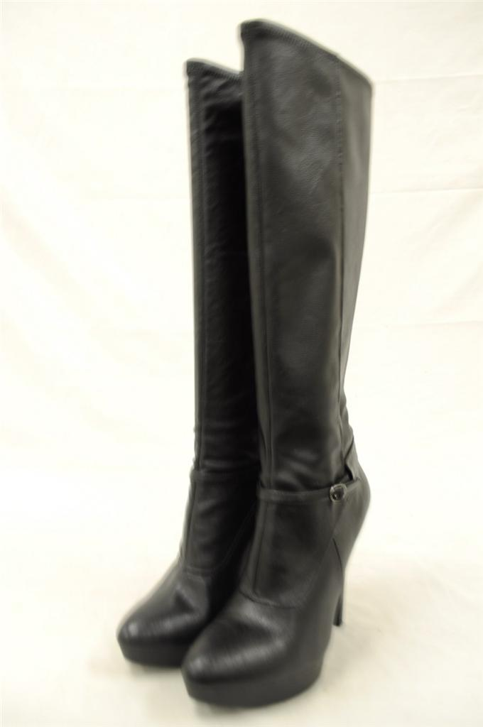 nine west ivanbella black leather knee high heel boot ebay