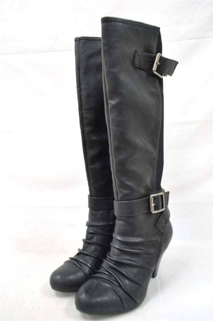 chen black leather dual buckle elastic