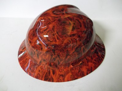 NEW Custom MSA V GARD Full Brim Hard Hat Orange Havest Moon Camo Pattern