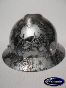 new custom msa v gard full brim hard hat w fas trac silver skull tattoo print ebay. Black Bedroom Furniture Sets. Home Design Ideas