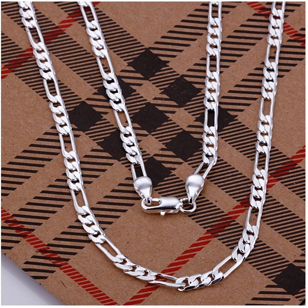 Hot-4mm-Nice-925silver-chain-necklace-jewelry-jewellery-gift-box