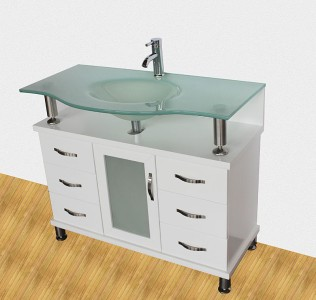 "48"" Frosted Glass Vessel Sink Bathroom Vanity White ..."