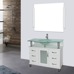 48 frosted glass vessel sink bathroom vanity white