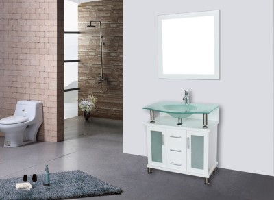 30 frosted glass vessel sink bathroom vanity white