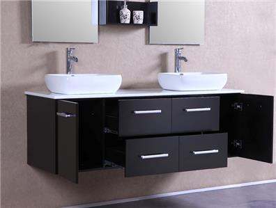 60 modern bathroom double vanities cabinet floating vessel sink w marble s70 ebay. Black Bedroom Furniture Sets. Home Design Ideas