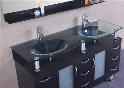 60 double sink bathroom cabinet solid wood vanity clear glass mirror s020 for Solid wood double sink bathroom vanity