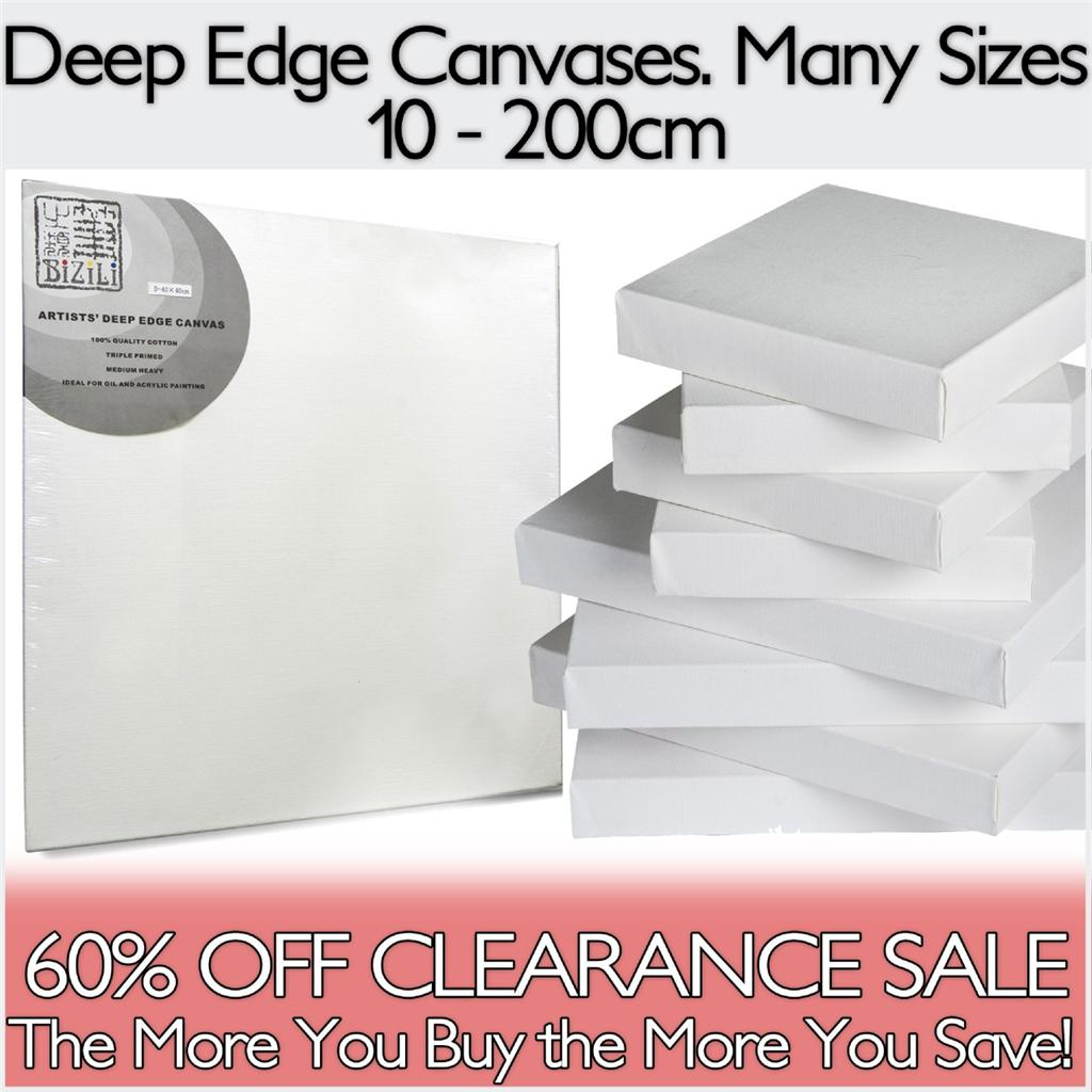 Artists-Deep-Edge-Blank-Stretched-Primed-Quality-Cotton-Canvas-Acrylic-Oil-NEW