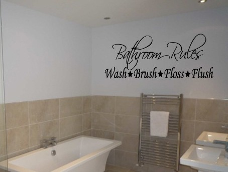 bathroom rules wash brush floss flush wall art stickers wallpaper