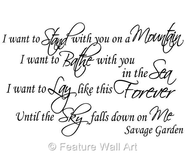 Savage garden truly madly deeply song lyrics wall art decal sticker wa0253 ebay I want you savage garden lyrics