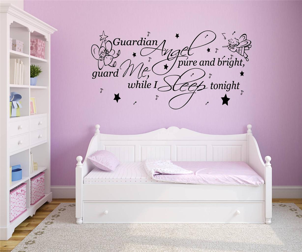 Vinyl Wall Art Quotes For Nursery : Guardian angel nursery rhyme quote vinyl wall art