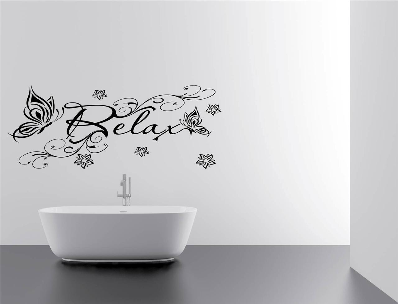Floral relax bathroom vinyl wall art decal sticker f13 for Bathroom vinyl decor