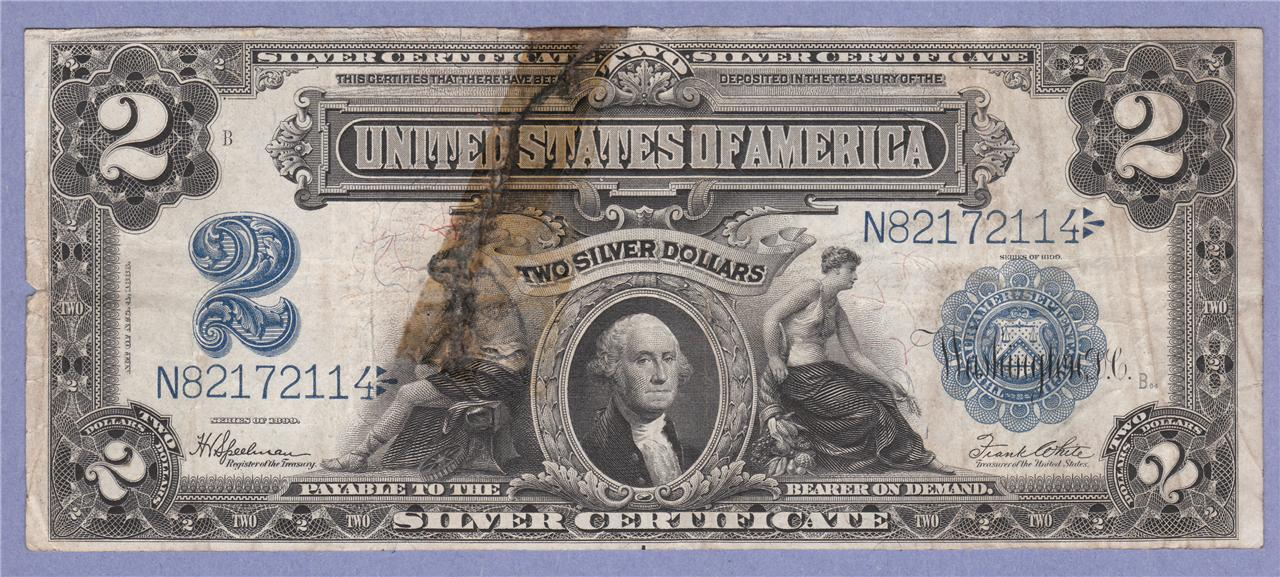 1899 $2 SILVER CERTIFICATE NOTE TWO DOLLAR BILL TWO SILVER DOLLARS