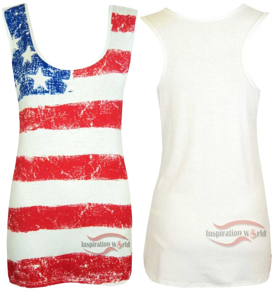Womens ladies usa american flag stars stripes print t for Ladies american flag t shirt