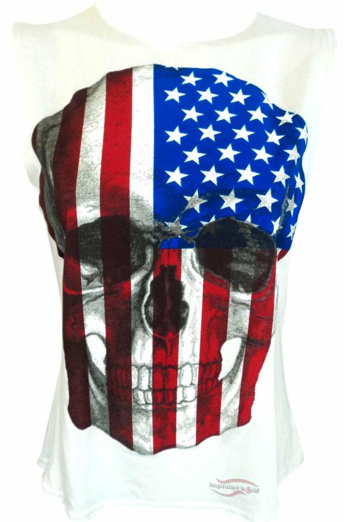 Ladies American Skull Print Vest Womens Usa Flag Top T