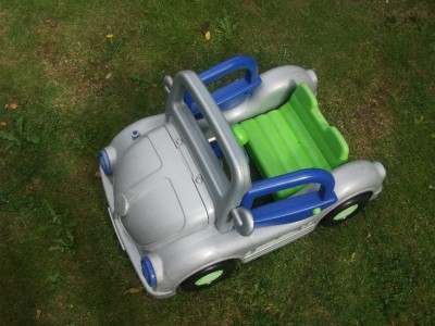 baby walker  vw beetle pedal car silver  lime green  blue accents ebay