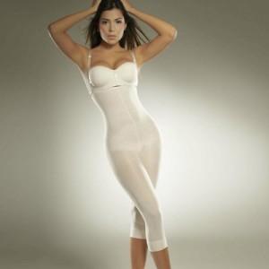 Compression Garment Fitness Capri S Full Body Shaper in White by Diane