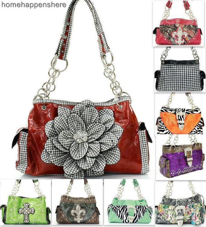20-Styles-Choose-13-034-Cross-amp-Fleur-de-Lis-Fashion-Handbag-Bling-Purse-Bag-Tote