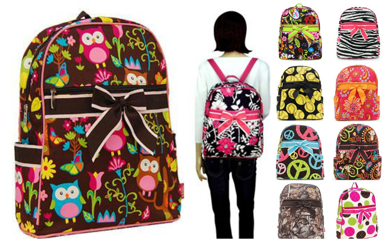 """Choose One 15"""" QUILTED BACKPACK Over Shoulder Book Tote ..."""