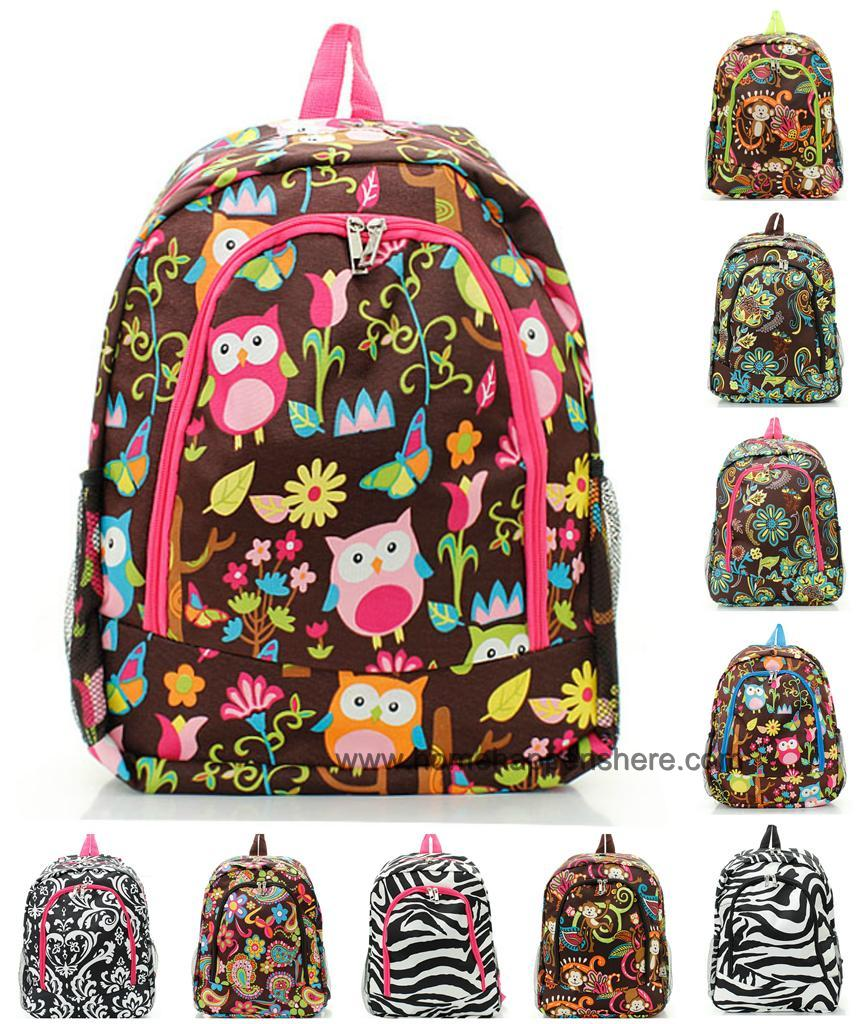 """One 16"""" BACKPACK School Book Bag Durable Canvas Girls ..."""