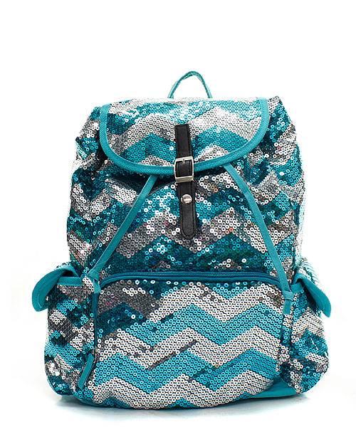 Chevron GLITTER SEQUIN BACKPACK Bling Bookbag Bag + Victorias Secret PINK Edt