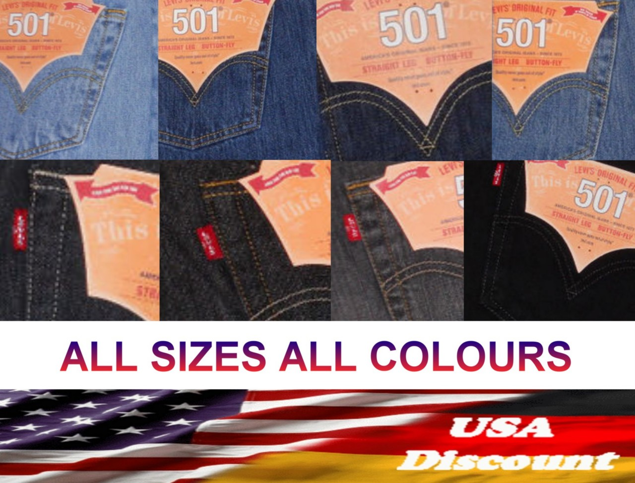 LEVIS-501-Jeans-Regular-MORE-COLOURS-ALL-SIZES-W29-W44-L30-L36-NEW