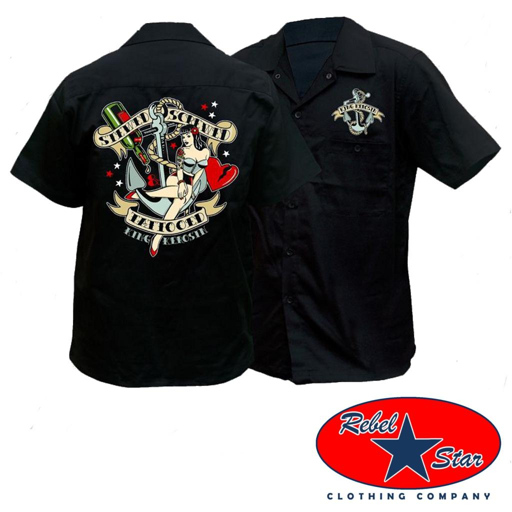 Stewed Screwed Tattooed Work Shirt Rockabilly Garage Kustom Kerosin