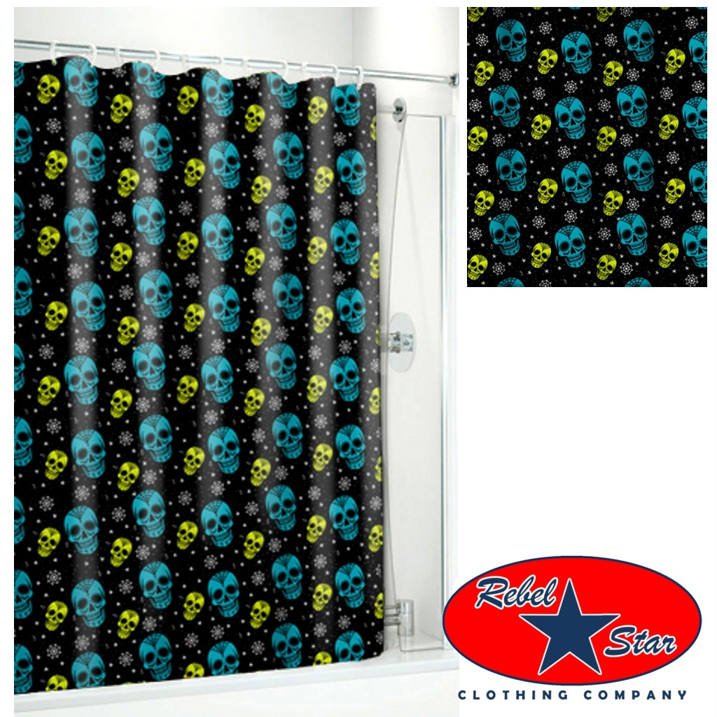Sugar Skull Ink Shower Curtain Rockabilly Tattoo Punk Retro Gothic ...