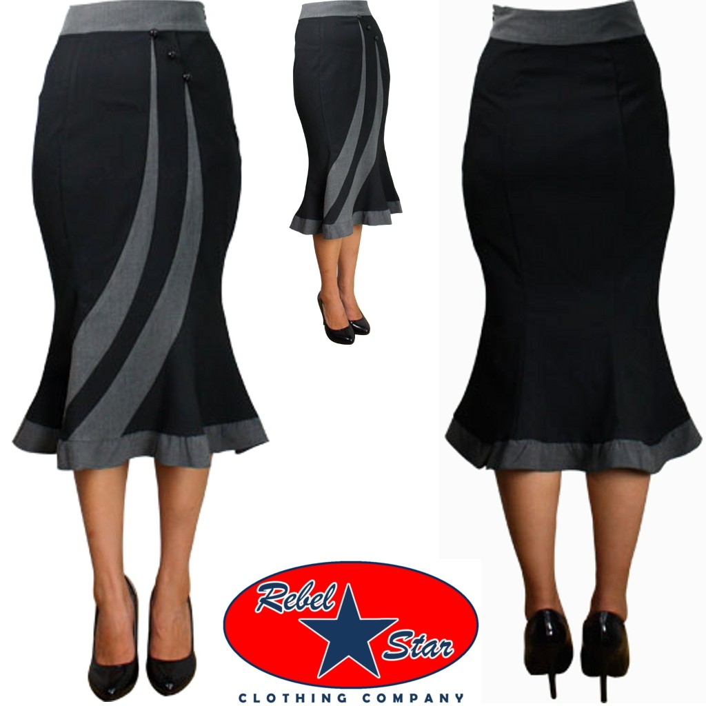 fitted flared pencil skirt rockabilly pin up 50s 60s retro