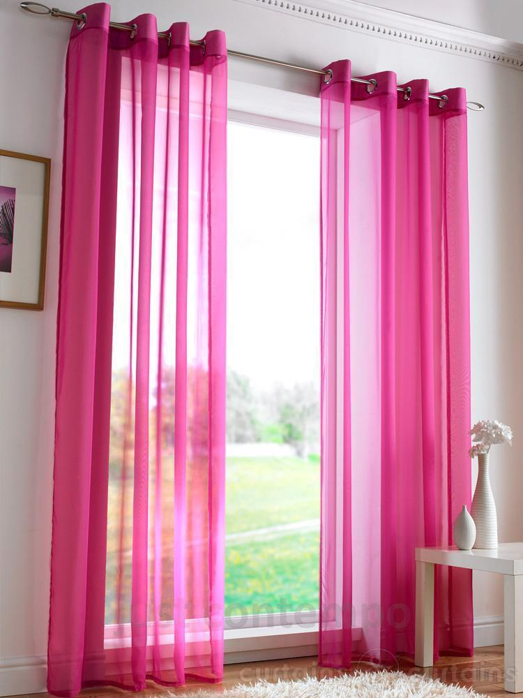 sheer curtain eyelet voile window curtains hot pink 96cm x 220cm new