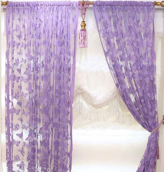 mauve purple butterfly stringed fringe curtain door window curtain 100cm x 200cm