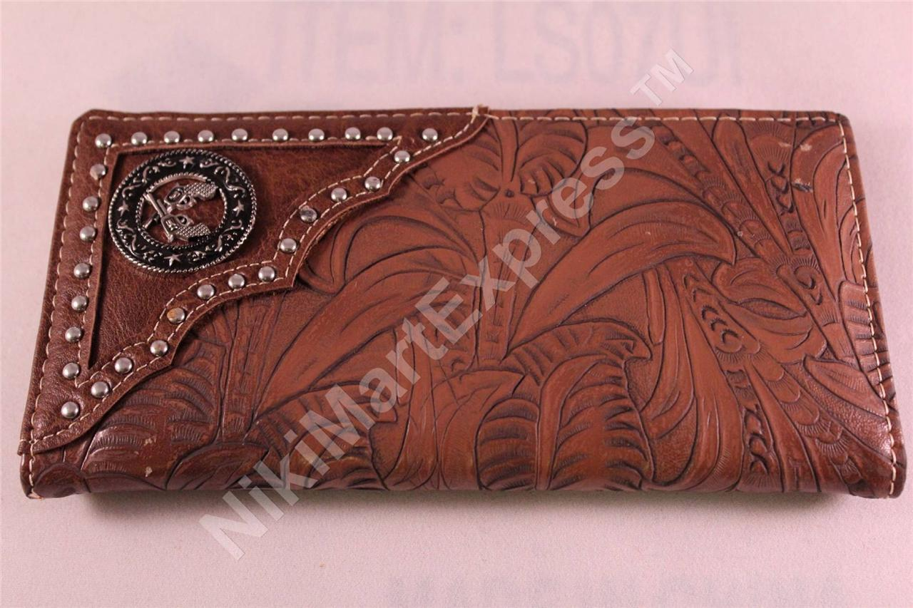 Man s western budded carved pattern checkbook rodeo wallet