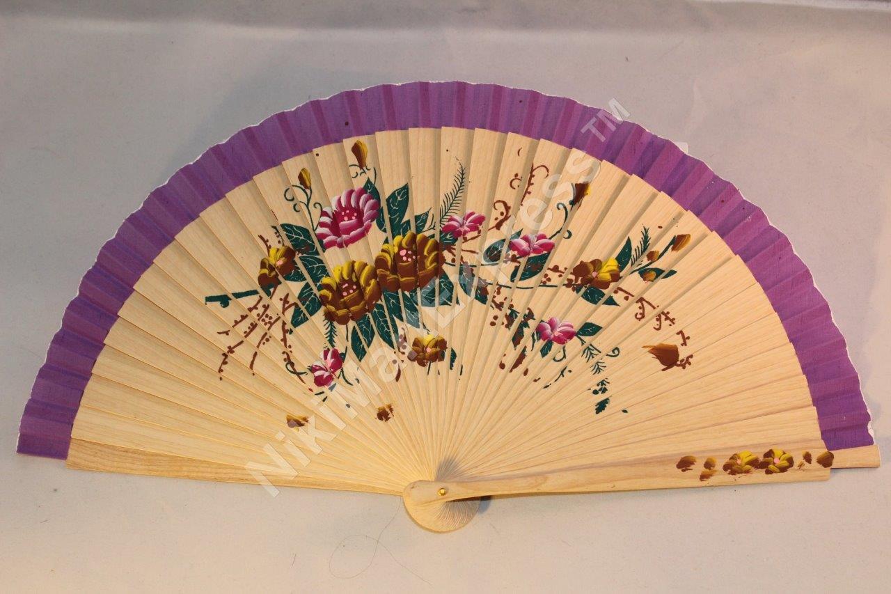 Hand Painted Oriental Bamboo Silk Folding Fan Wall