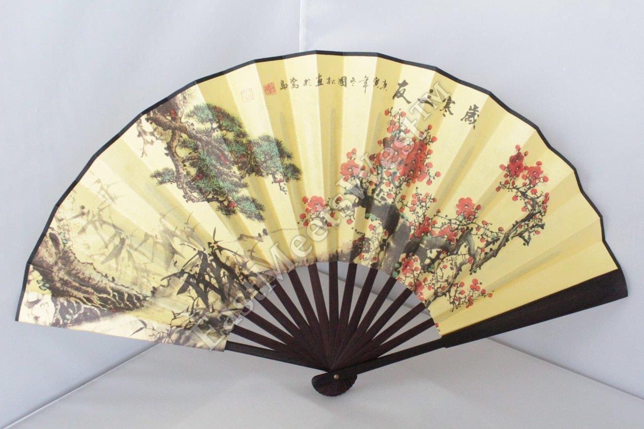 Large Oriental Bamboo Silk Hand Folding Fan Wall Art Decoration 4 ...