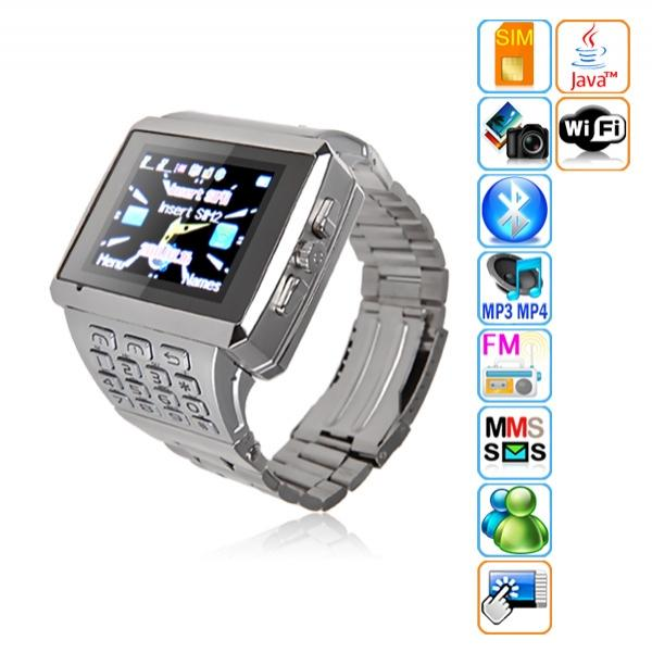 Quad Band Watch Cell Phone 2 Sim Touch Screen Keypad WiFi Java Camera