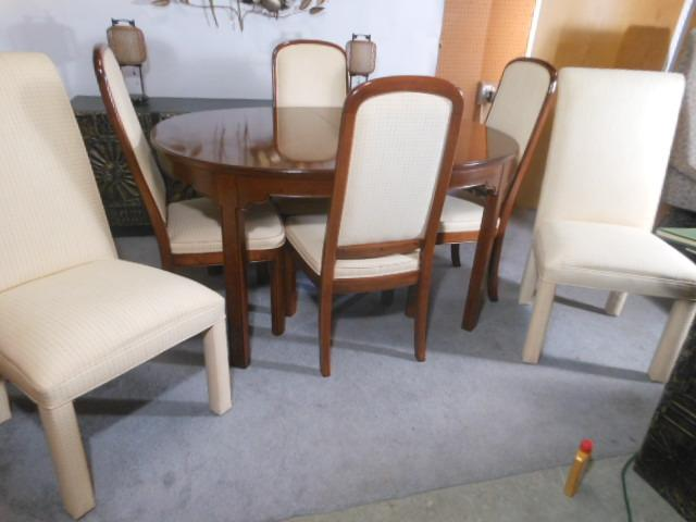 Modern Ethan Allen Walnut Dining Table with 6 Chairs