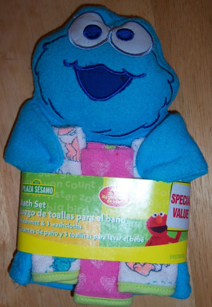 sesame street wash mit 3 cloths elmo big bird cookie monster