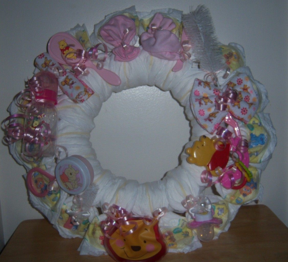baby shower diaper wreath winnie the pooh cars precious moments